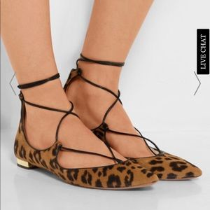 AQUAZZURA CHRISTY LEOPARD PRINT POINT-TOE FLATS